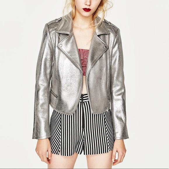 23e2d243 Zara Jackets & Coats | Silver Moto Faux Leather Jacket S | Poshmark